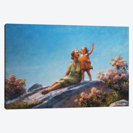 A Happy Moment, 1919  Canvas Print #BMN5862} by Charles Courtney Curran Canvas Print