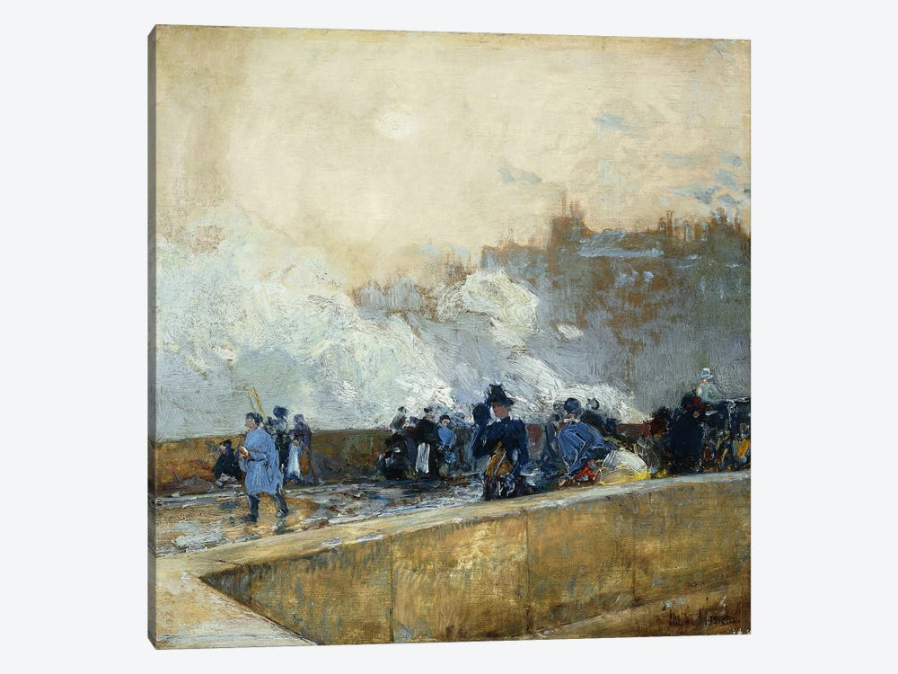 Windy Day, Paris, 1889 by Childe Hassam 1-piece Canvas Art Print