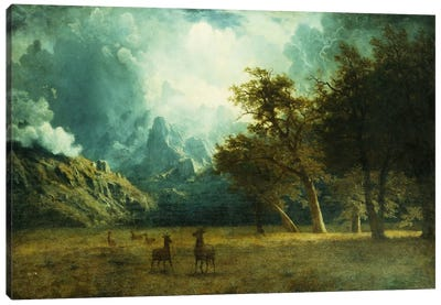 Storm on Laramie Peak, c. 1883 by Albert Bierstadt Canvas Wall Art