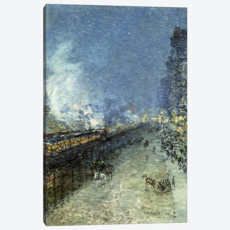 Sixth Avenue El - Nocturne (The El, New York), 1894  Canvas Print #BMN5867} by Childe Hassam Canvas Art