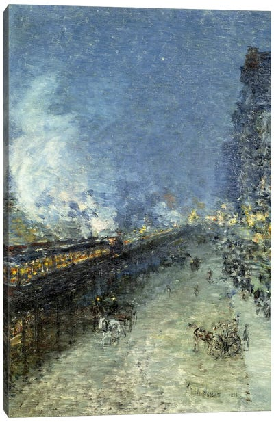 Sixth Avenue El - Nocturne (The El, New York), 1894 Canvas Art Print
