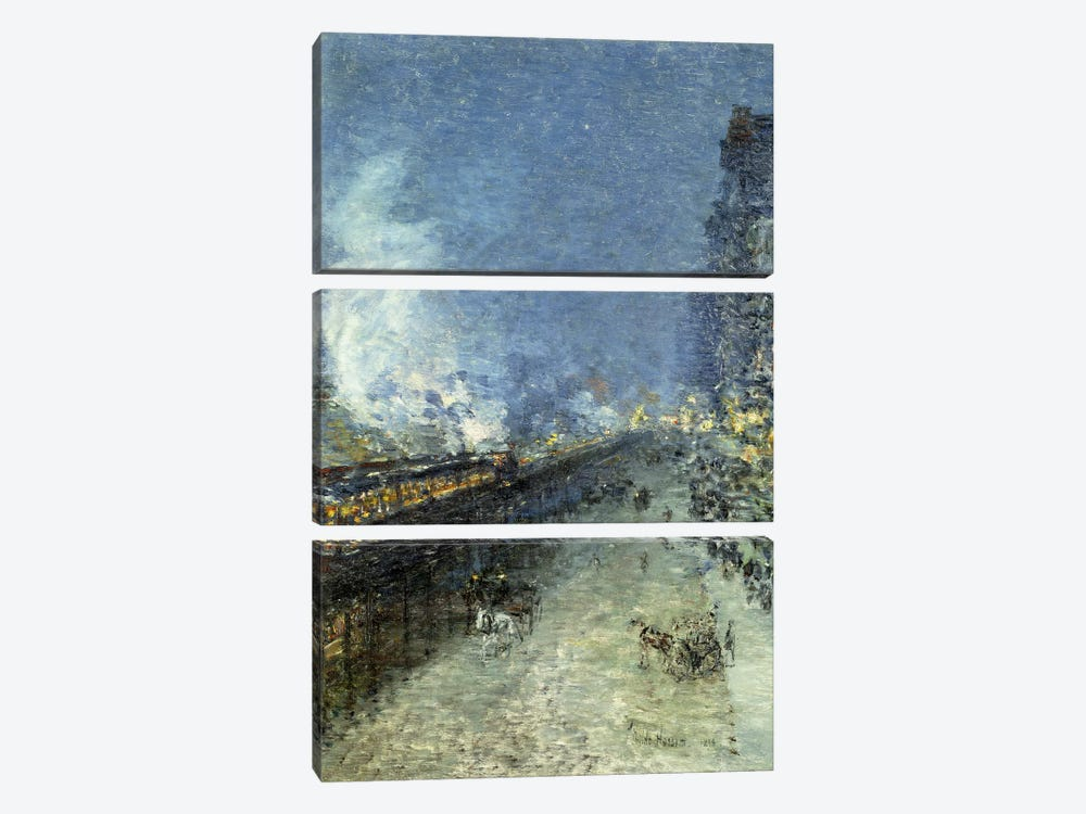 Sixth Avenue El - Nocturne (The El, New York), 1894 by Childe Hassam 3-piece Art Print
