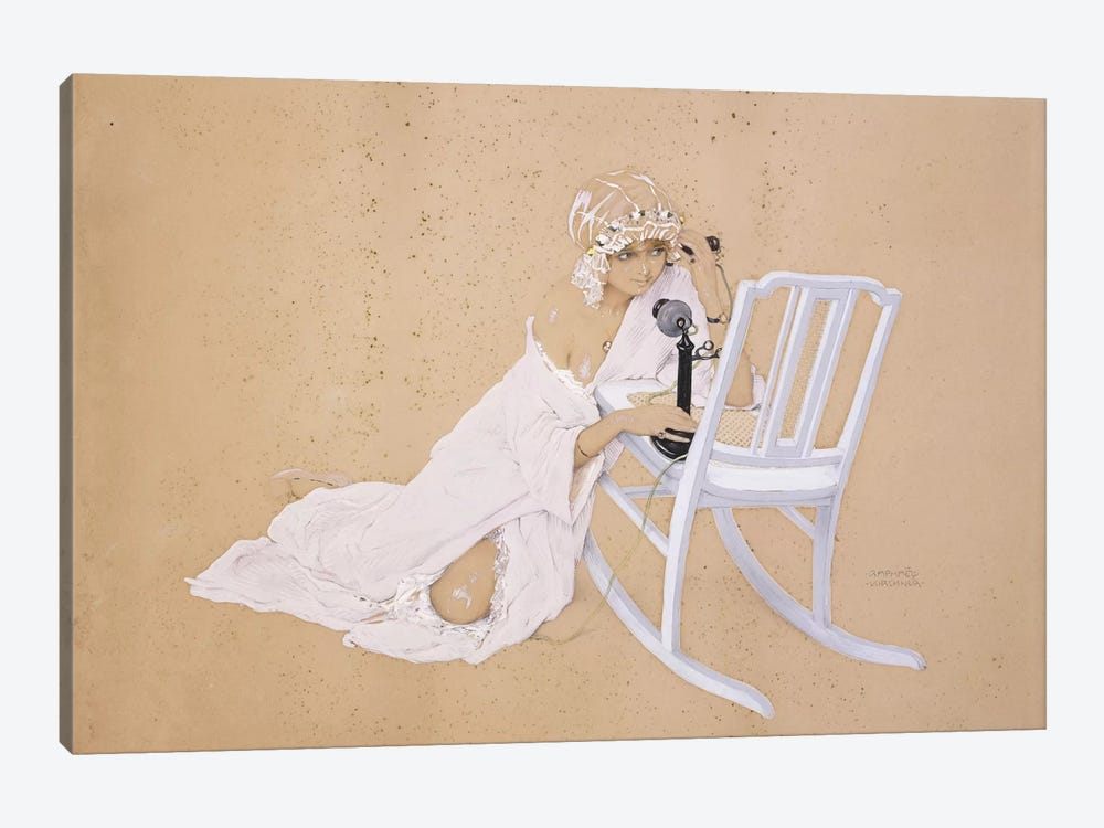 The Conversation by Raphael Kirchner 1-piece Canvas Wall Art