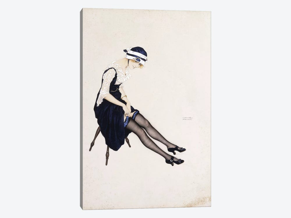 The Garter,  by Raphael Kirchner 1-piece Canvas Art Print