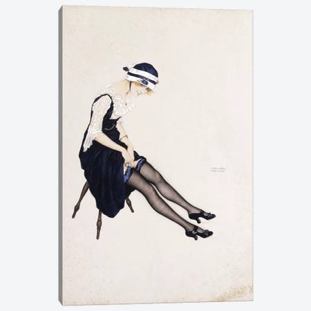 The Garter,  Canvas Print #BMN5872} by Raphael Kirchner Canvas Wall Art