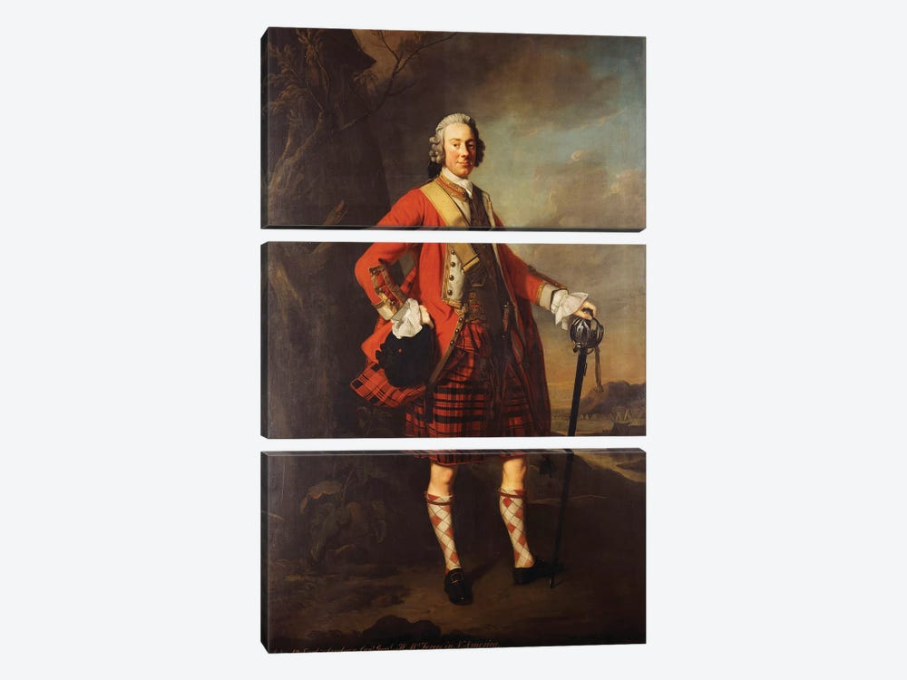 Portrait of John Campbell, 4th Earl of Loudon  by Allan Ramsay 3-piece Canvas Wall Art