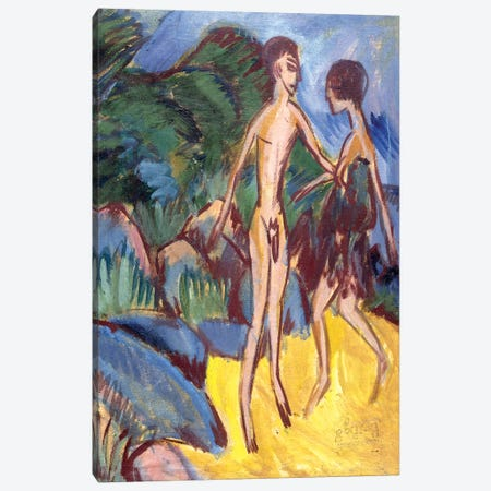 Youth and Naked Girl on Beach; Nackter Jungling und Madchen am Strand, 1913  Canvas Print #BMN5876} by Ernst Ludwig Kirchner Canvas Art Print