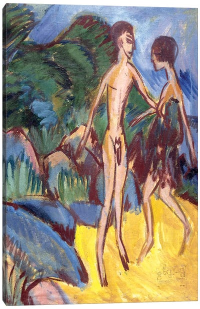 Youth and Naked Girl on Beach; Nackter Jungling und Madchen am Strand, 1913 Canvas Art Print