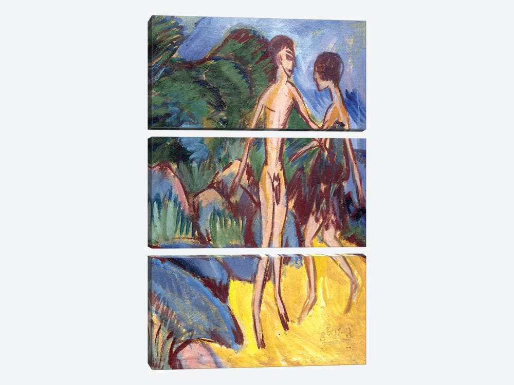 Youth and Naked Girl on Beach; Nackter Jungling und Madchen am Strand, 1913 by Ernst Ludwig Kirchner 3-piece Canvas Print