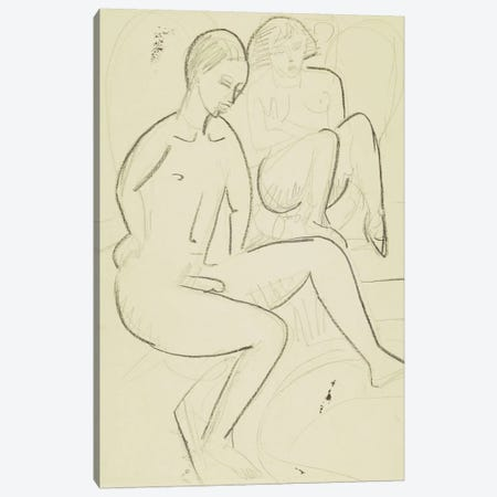 Young Couple in the Bathroom  Canvas Print #BMN5877} by Ernst Ludwig Kirchner Art Print