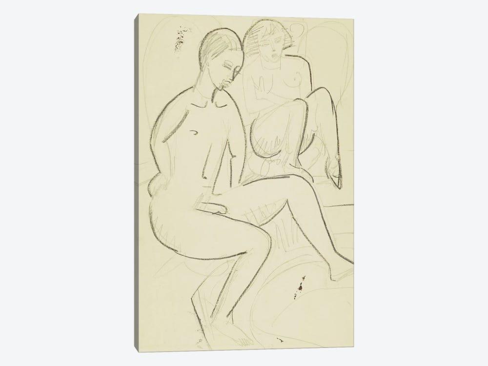 Young Couple in the Bathroom by Ernst Ludwig Kirchner 1-piece Canvas Art