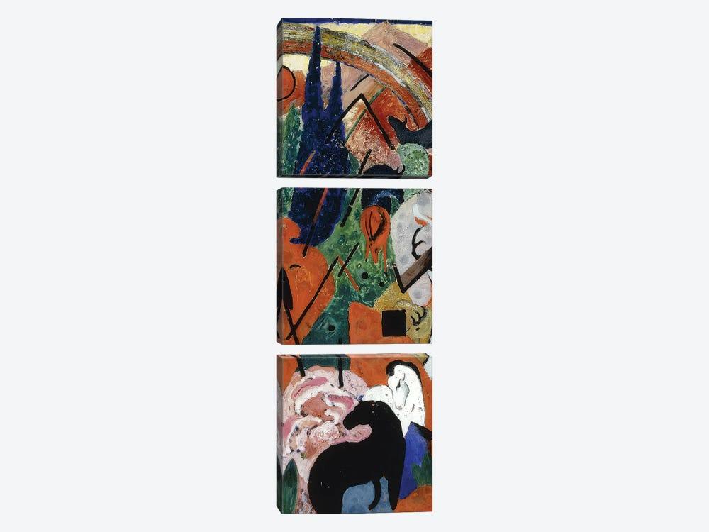 Landscape with Animals and Rainbow; Landschaft mit Tieren und Regenbogen, 1911  by Franz Marc 3-piece Art Print