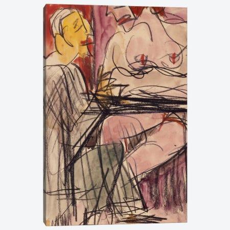 Female Nude and Man sitting at a Table; Weiblicher Akt und Mann an einem Tisch sitzend,  Canvas Print #BMN5879} by Ernst Ludwig Kirchner Canvas Wall Art