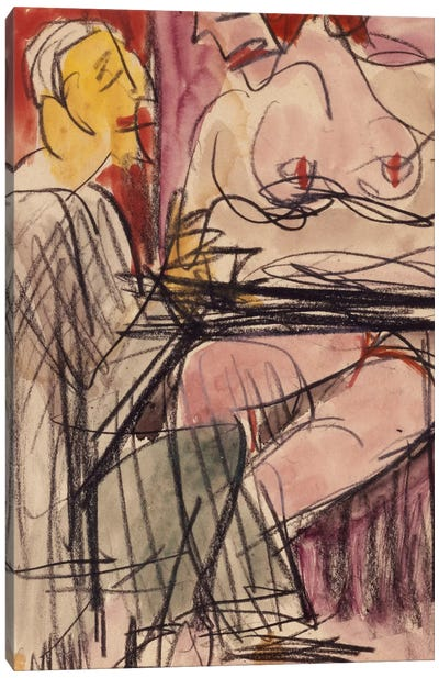 Female Nude and Man sitting at a Table; Weiblicher Akt und Mann an einem Tisch sitzend,  Canvas Print #BMN5879