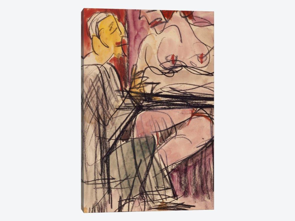 Female Nude and Man sitting at a Table; Weiblicher Akt und Mann an einem Tisch sitzend,  by Ernst Ludwig Kirchner 1-piece Canvas Wall Art