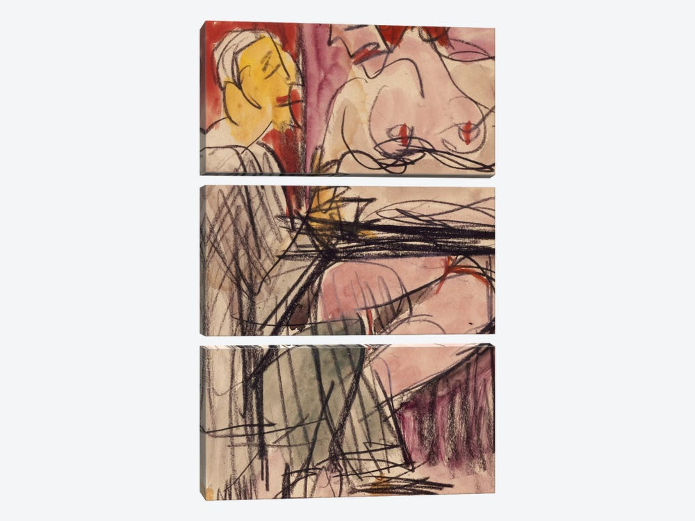 Female Nude and Man sitting at a Table; Weiblicher Akt und Mann an einem Tisch sitzend,  by Ernst Ludwig Kirchner 3-piece Canvas Art