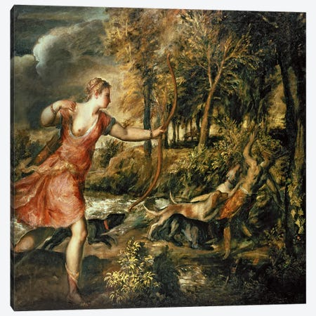The Death of Actaeon, c.1565  Canvas Print #BMN587} by Titian Canvas Wall Art