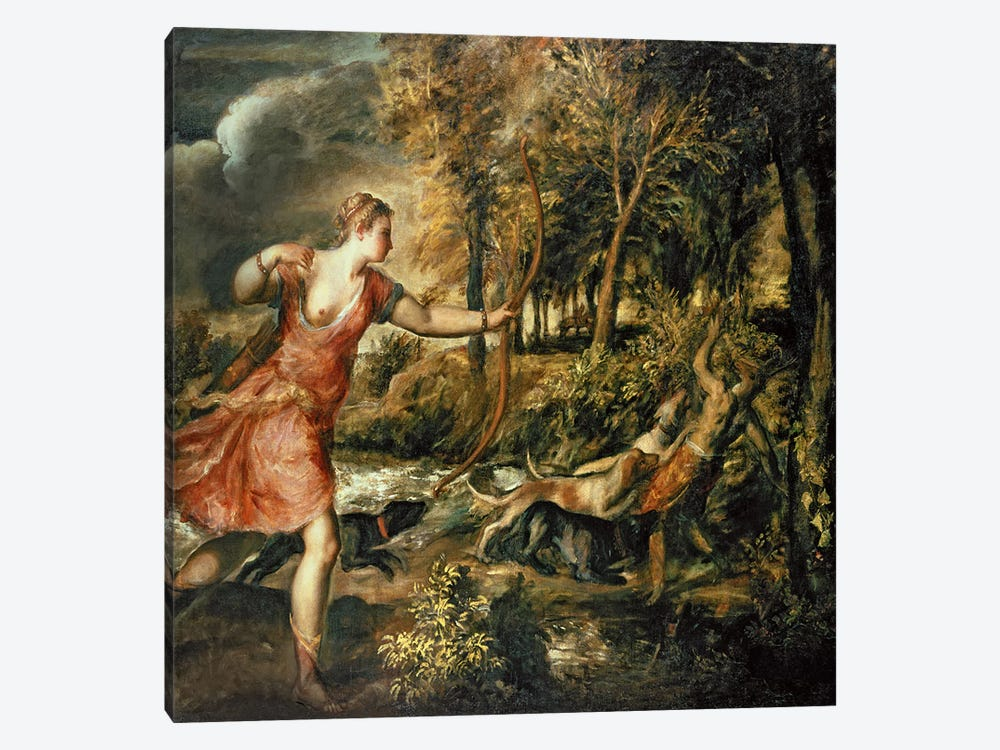 The Death of Actaeon, c.1565 by Titian 1-piece Canvas Wall Art