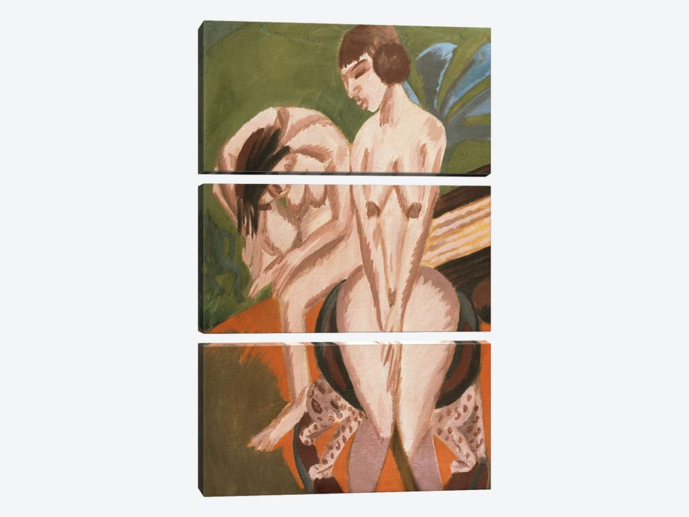 Two Nudes in the Room; Zwei Akte im Raum, 1914  by Ernst Ludwig Kirchner 3-piece Canvas Artwork