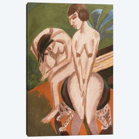 Two Nudes in the Room; Zwei Akte im Raum, 1914  Canvas Print #BMN5884} by Ernst Ludwig Kirchner Canvas Wall Art