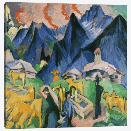 Alpleben, Triptych; Alpleben, Triptychon, 1918  Canvas Print #BMN5886} by Ernst Ludwig Kirchner Canvas Wall Art