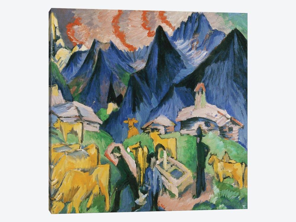 Alpleben, Triptych; Alpleben, Triptychon, 1918  by Ernst Ludwig Kirchner 1-piece Canvas Wall Art