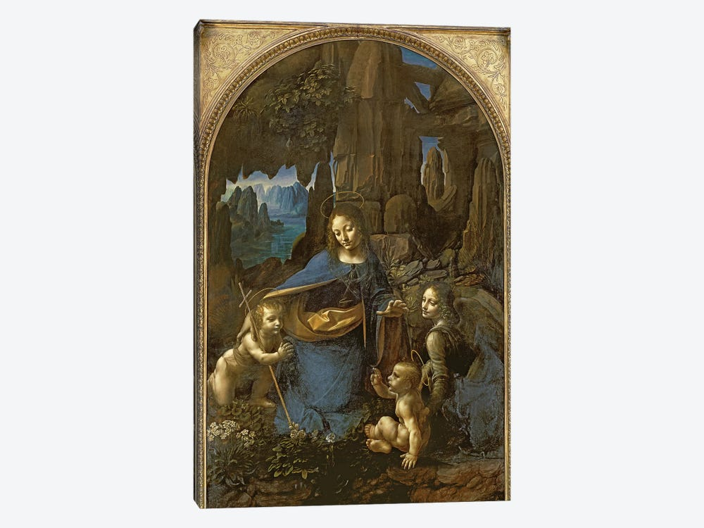 The Virgin of the Rocks  by Leonardo da Vinci 1-piece Canvas Art Print
