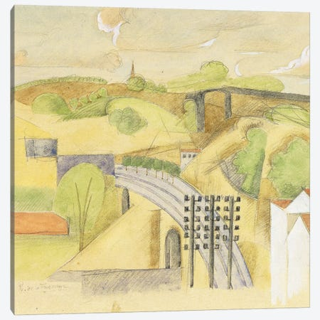 Study for The Meulan Viaduct; Etude pour le Viaduc de Meulan, 1912  Canvas Print #BMN5890} by Roger de la Fresnaye Canvas Art
