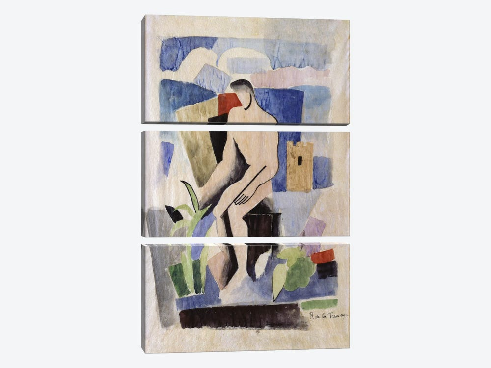 Man in the Country, study for Paludes; Homme dans un Paysage, Etude pour Paludes, c.1920  by Roger de la Fresnaye 3-piece Canvas Wall Art