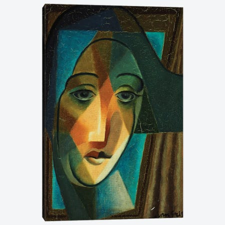 Head of a Harlequin; Tete d'Arlequin, 1924  Canvas Print #BMN5904} by Juan Gris Canvas Art Print