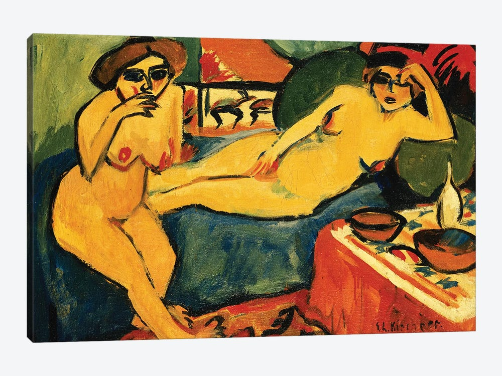 Two Nudes on a Blue Sofa; Zwei Akte auf Blauem Sofa, c.1910-1920  by Ernst Ludwig Kirchner 1-piece Canvas Print