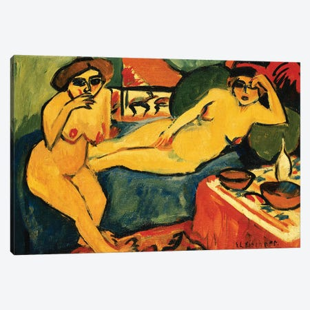 Two Nudes on a Blue Sofa; Zwei Akte auf Blauem Sofa, c.1910-1920  Canvas Print #BMN5908} by Ernst Ludwig Kirchner Canvas Wall Art