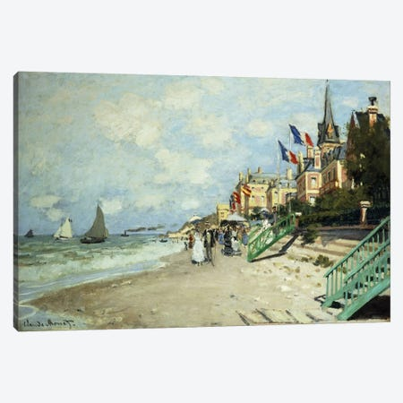 The Beach at Trouville (La Plage a Trouville), 1870  Canvas Print #BMN5909} by Claude Monet Canvas Artwork