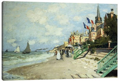The Beach at Trouville (La Plage a Trouville), 1870 Canvas Art Print