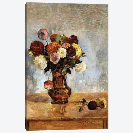 Les Dahlias, 1885  Canvas Print #BMN5911} by Paul Gauguin Canvas Print