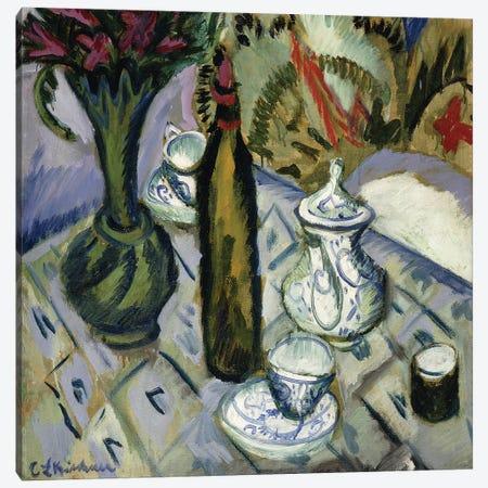 Teapot, Bottle and Red Flowers; Teekanne, Flasche und Rote Blumen, 1912  Canvas Print #BMN5914} by Ernst Ludwig Kirchner Canvas Artwork