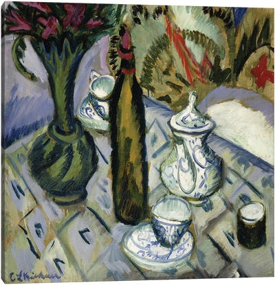 Teapot, Bottle and Red Flowers; Teekanne, Flasche und Rote Blumen, 1912  Canvas Art Print