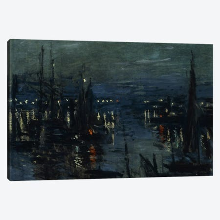 The Port of Le Havre, Night Effect (Le Port de Havre, effet du Nuit), 1873  Canvas Print #BMN5918} by Claude Monet Canvas Art Print