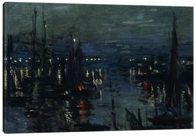 The Port of Le Havre, Night Effect (Le Port de Havre, effet du Nuit), 1873 by Claude Monet Canvas Art Print