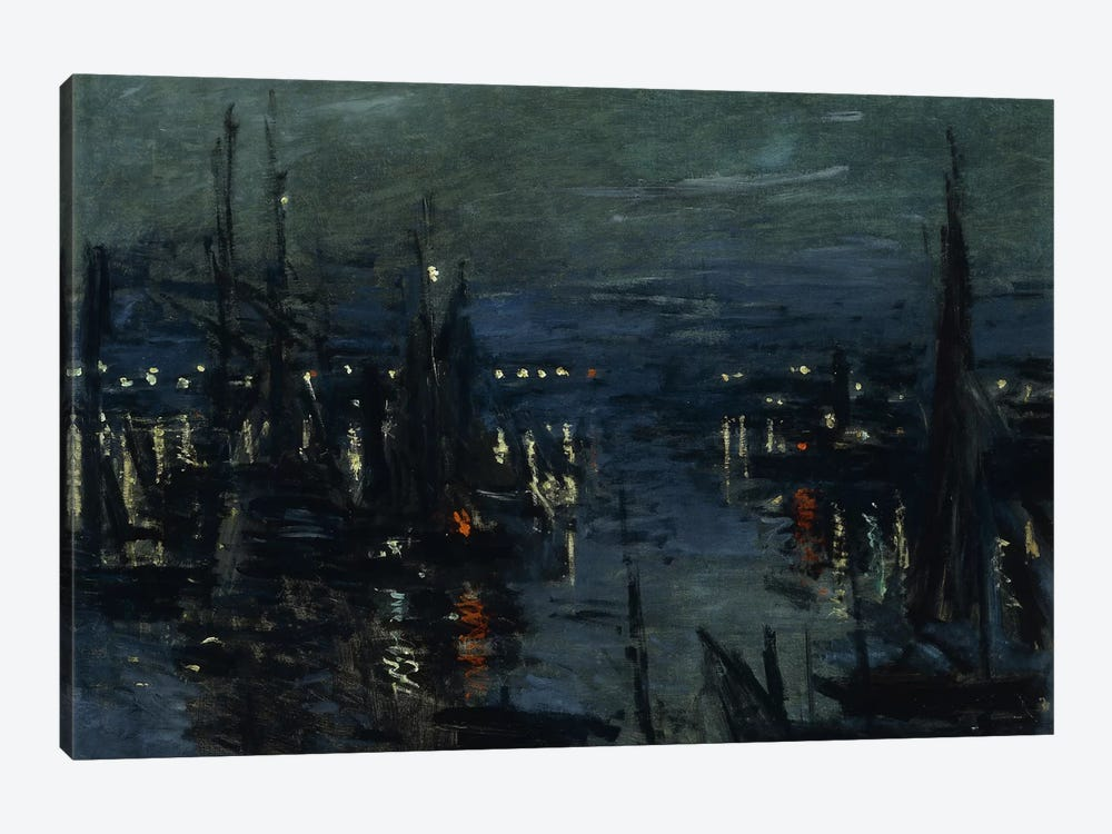 The Port of Le Havre, Night Effect (Le Port de Havre, effet du Nuit), 1873  by Claude Monet 1-piece Canvas Artwork