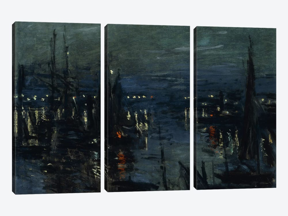 The Port of Le Havre, Night Effect (Le Port de Havre, effet du Nuit), 1873  by Claude Monet 3-piece Canvas Art
