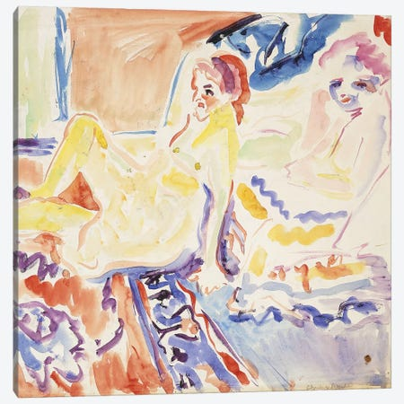 Sitting and Lying  Canvas Print #BMN5924} by Ernst Ludwig Kirchner Art Print