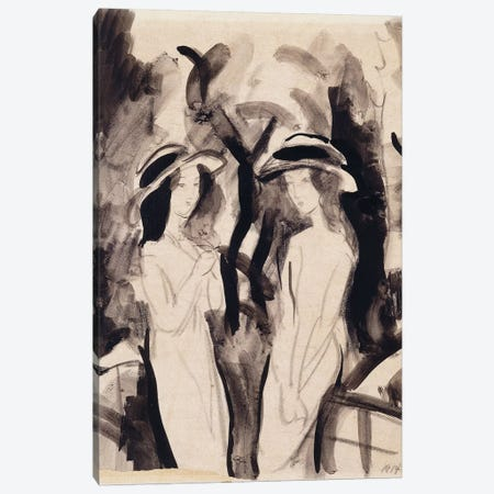 Two Girls; Zwei Madchen, 1914  Canvas Print #BMN5928} by August Macke Canvas Art