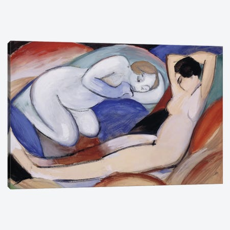 Two Reclining Nudes; Zwei liegende Akte, 1912  Canvas Print #BMN5929} by Franz Marc Canvas Art