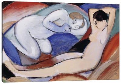 Two Reclining Nudes; Zwei liegende Akte, 1912  Canvas Art Print