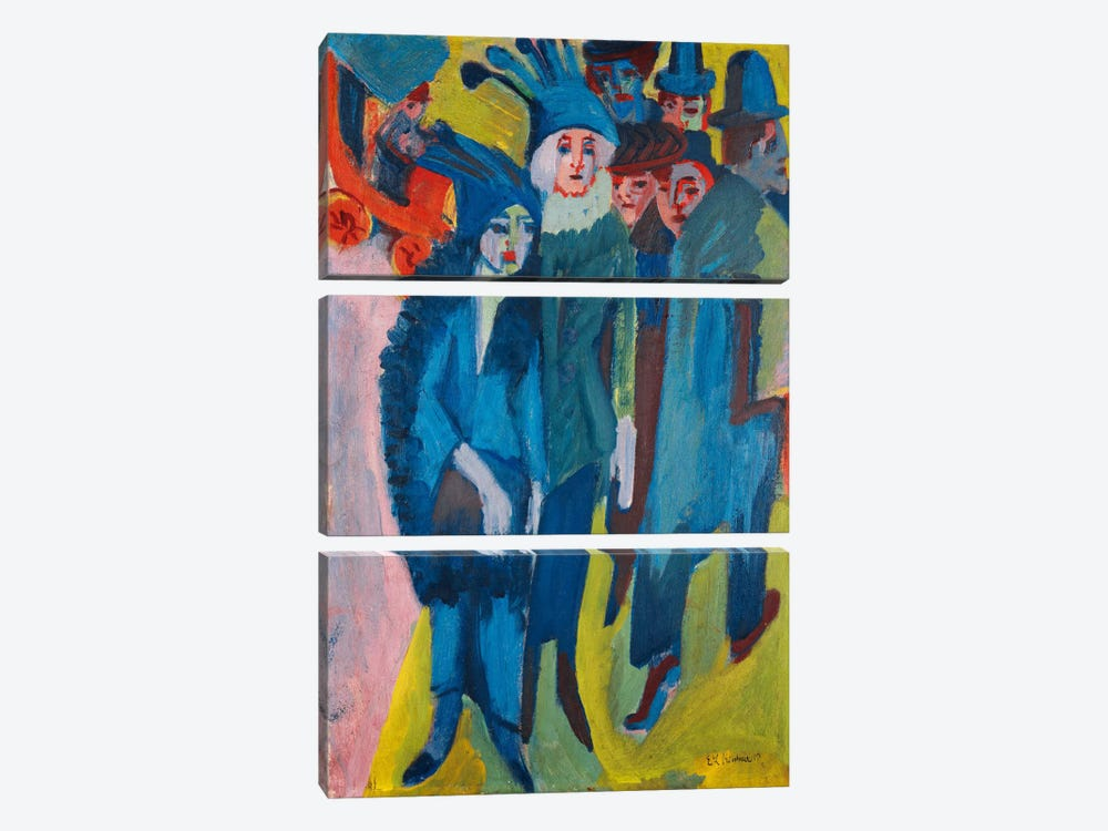 Street Scene; Strassenszene, 1913  by Ernst Ludwig Kirchner 3-piece Canvas Art