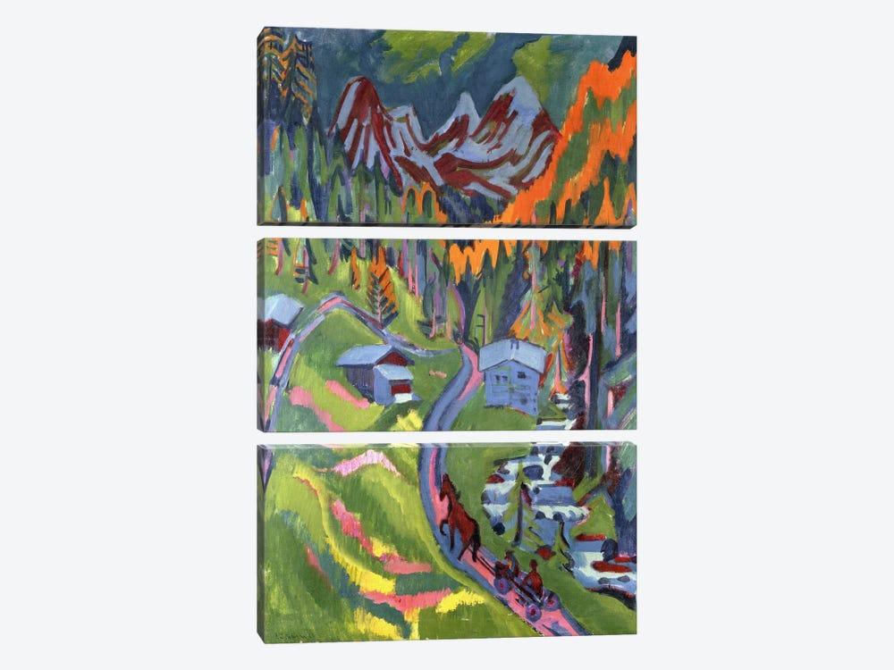 Sertig Path in Summer; Sertigweg im Sommer, 1923  by Ernst Ludwig Kirchner 3-piece Art Print