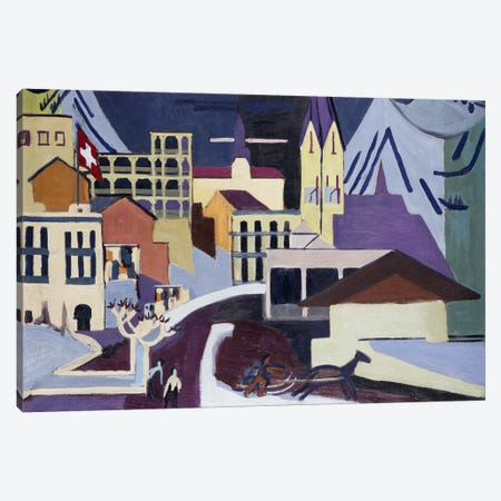 Davos-Platz Railway Station; Davos-Platz am Banhof, 1931  Canvas Print #BMN5934} by Ernst Ludwig Kirchner Canvas Wall Art