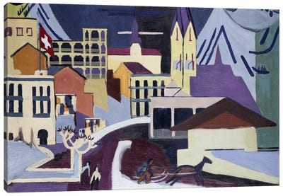 Davos-Platz Railway Station; Davos-Platz am Banhof, 1931  Canvas Art Print