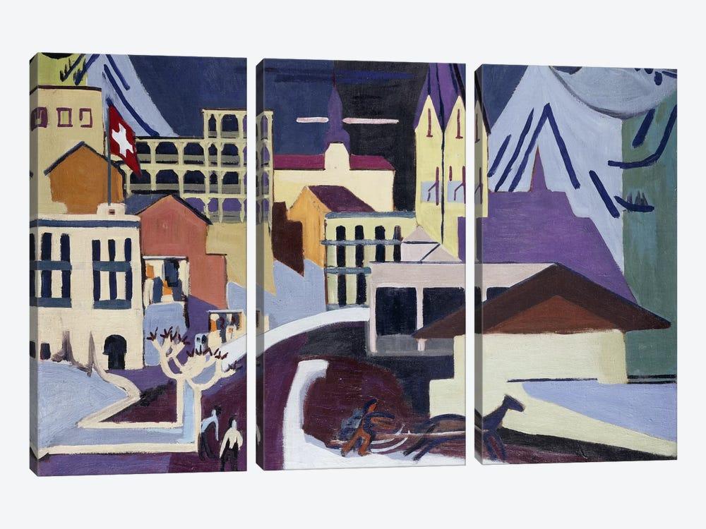 Davos-Platz Railway Station; Davos-Platz am Banhof, 1931  by Ernst Ludwig Kirchner 3-piece Canvas Wall Art